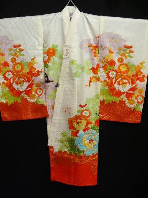 "Girl's White ""Kimono"" w/Emb, Flower Cart #0032"