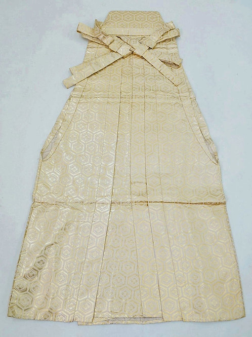 Japanese Hatamoto Hakama Umanori type / Gold, Cream / Takeda Clan Mon #0556