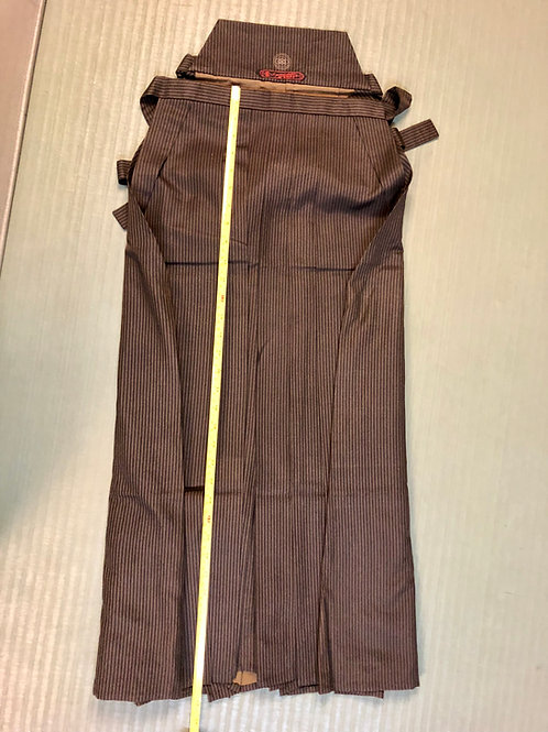 SAMURAI HAKAMA (Umanori) Brown Stripe/Silk for Kendo Iaido Budo #0554