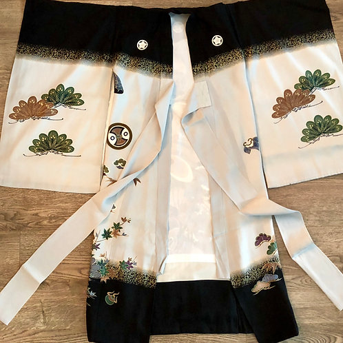 Boy's Japanese Silk KIMONO Black w/ 5 Samurai Crests; Eagle #1534