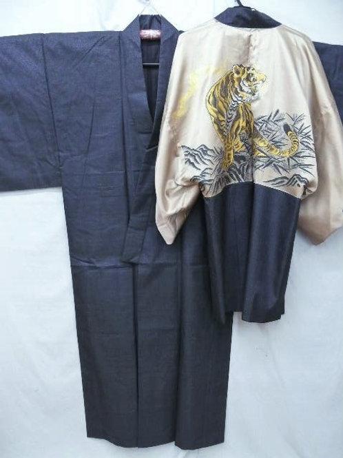 """Men's Indigo Silk """"Tsumugi Kimono & Tiger Haori"""" #0021"""