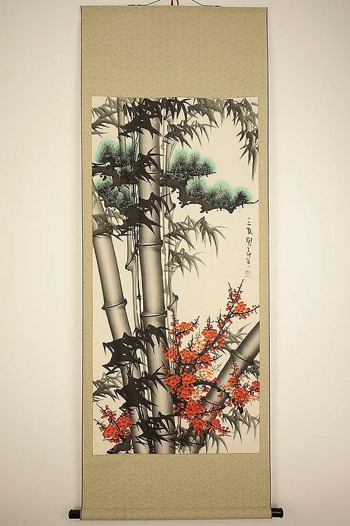 """Chinese Hanging Scroll """"Shochikubai / Pine,Bamboo and Ume"""" #1710"""