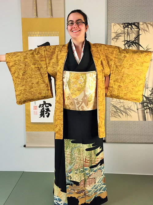 Lady's Japanese Kimono, HAORI, Light brown/gold #0063