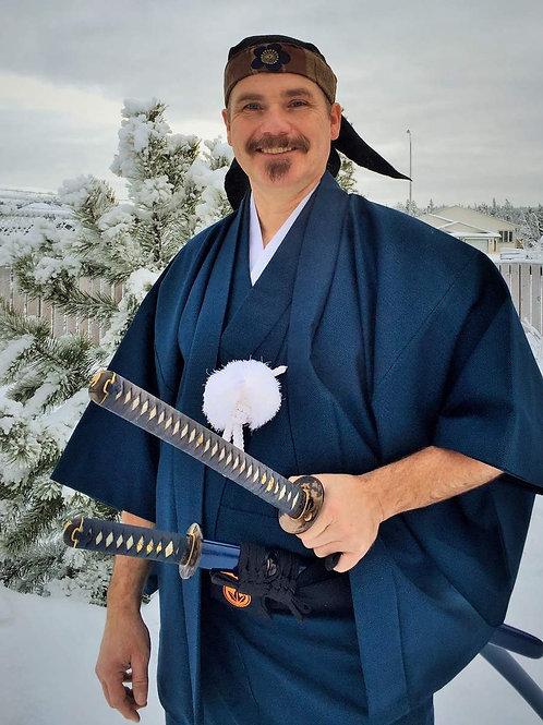 Elegant Japanese Samurai Daimyo-gyoretsu Kimono/Haori Set #0065