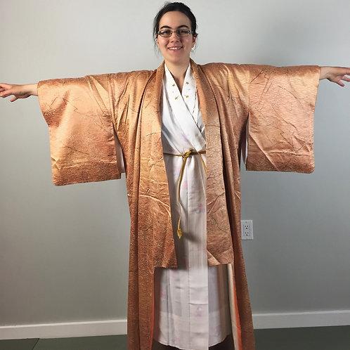 Empress Woman's Kimono orange/gold silk w/ blossom patterns #0230