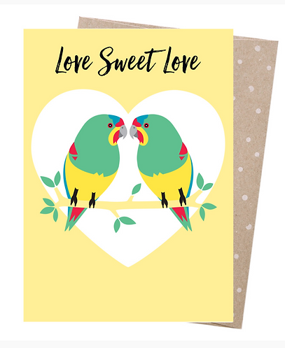 Earth Friendly Greeting Card - Swift Parrot Love