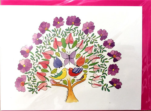 Tall Tales Greeting Cards - Doves in a Flower Tree