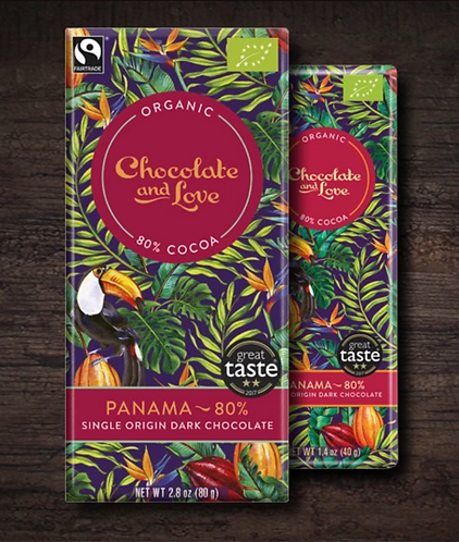 Chocolate & Love Fairtrade Organic Panama 80% Dark Chocolate