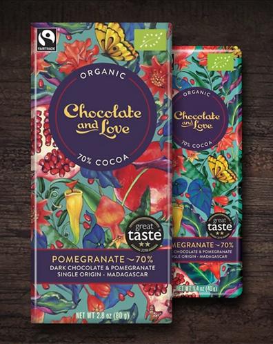 Chocolate & Love Fairtrade Organic Pomegranate 70% Dark
