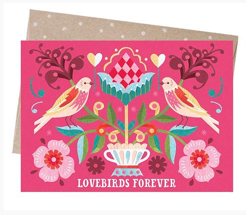 Earth Friendly Greeting Card - Lovebirds Forever