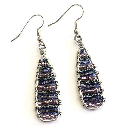 Beaded Stripe Drop Earrings
