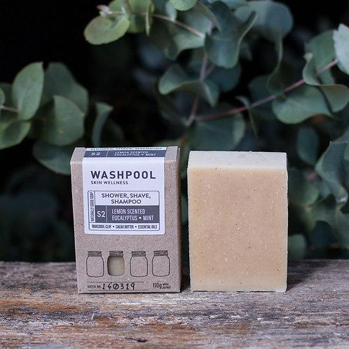3-in-1 Shower, Shave & Shampoo Soap - Lemon Scented, Eucalyptus & Mint