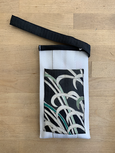 Upcycled Phone Pouch with Vintage Kimono - White/Black Trim
