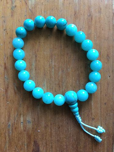 Nepalese Mala Bracelet - Aqua Agate