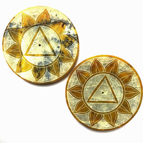 Stone Chakra Design Incense Plate - Yellow