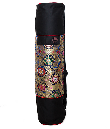 Yoga Mat Bag Tibetan Silk Brocade - Black Chakra