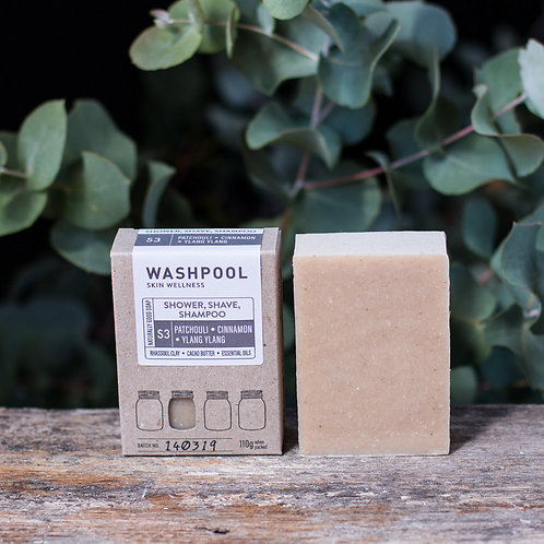 3-in-1 Shower, Shave & Shampoo Soap - Patchouli, Cinnamon & Ylang Ylangg
