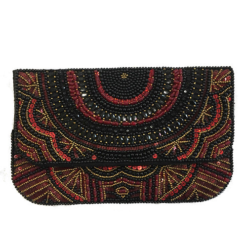 Beaded Clutch Purse Black & Red