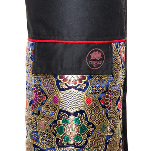 Yoga Mat Bag Tibetan Silk Brocade - Blue Chakra
