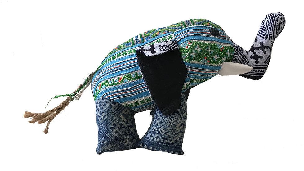 Elephant with Traditional Indigo Designs