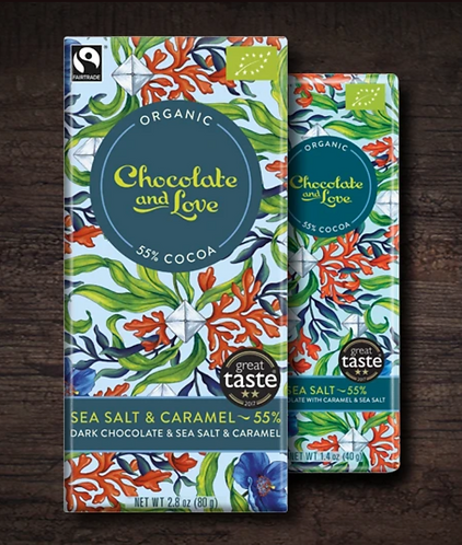Chocolate & Love Fairtrade Organic Sea Salt & Caramel 55% Chocolate