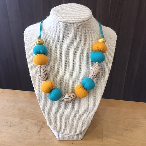 Upcycled Necklace Wood Bead