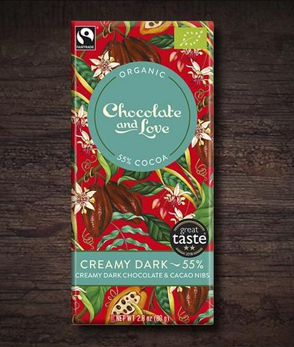 Chocolate & Love Fairtrade Organic Creamy 55% Dark Chocolate