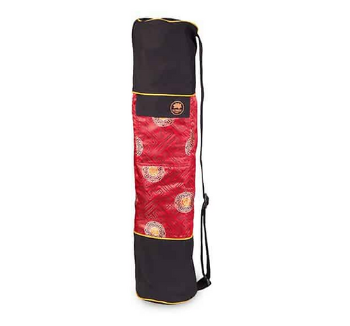 Yoga Mat Bag Tibetan Silk Brocade - Red Mandala