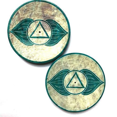 Chakra Design Incense Plate - Aqua