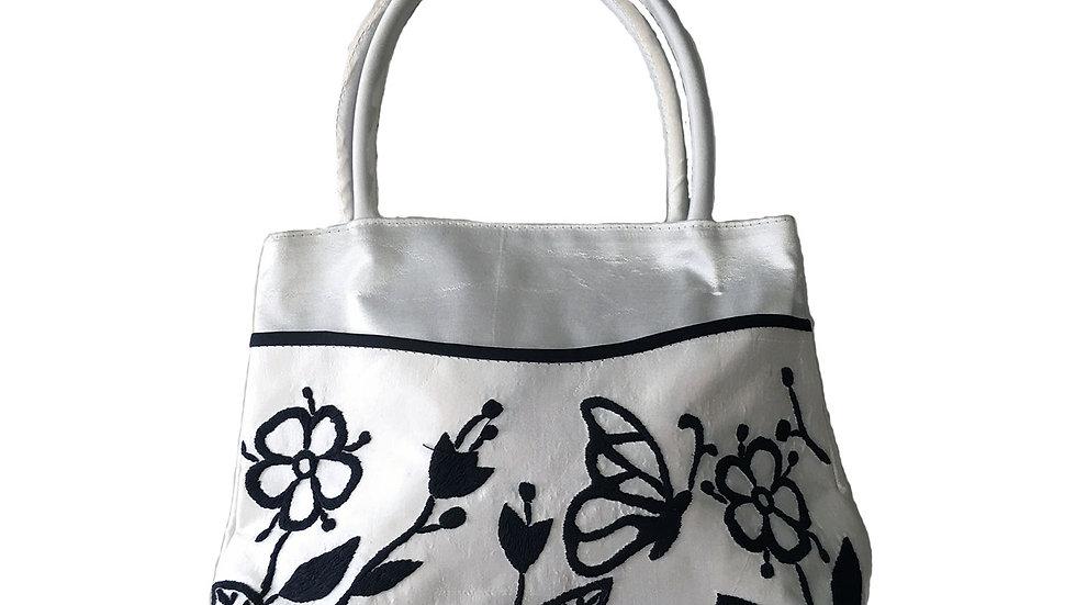 Silk Handbag White Floral