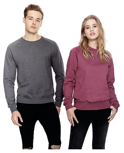 Unisex Raglan Sweatshirt Melange Plum