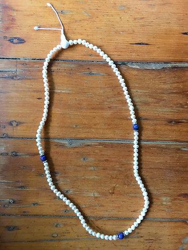 Nepalese Mala - Pearl & Lapis Lazuli