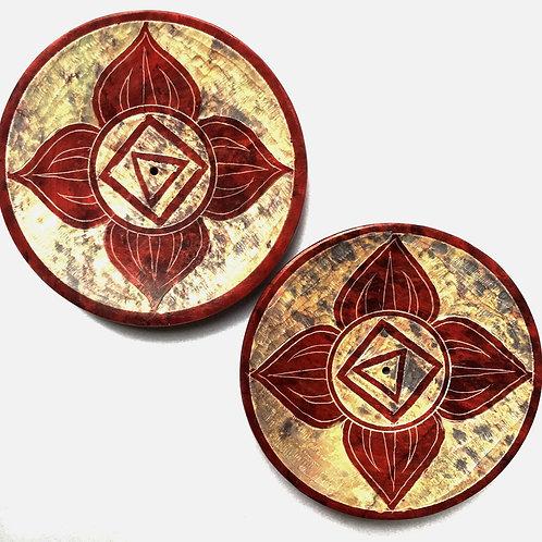 Stone Chakra Design Incense Plate - Red