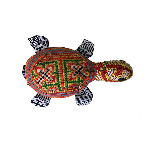 Toy Turtle with Hill Tribe Designs - Red