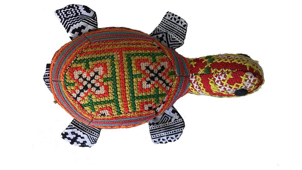 Turtle with Traditional Indigo Designs