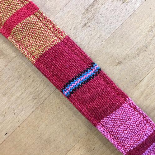 Yoga Mat Strap (Handloom) - Red, Pink & Gold