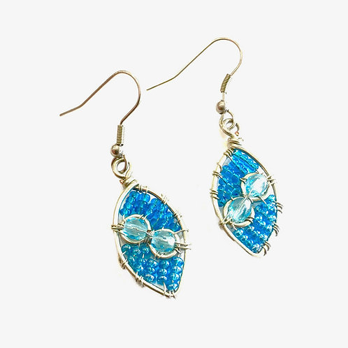 Teardrop Earrings with Beads & Crystals