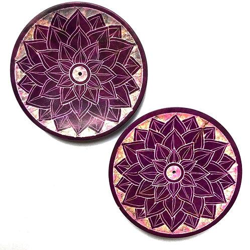 Stone Chakra Design Incense Plate - Purple