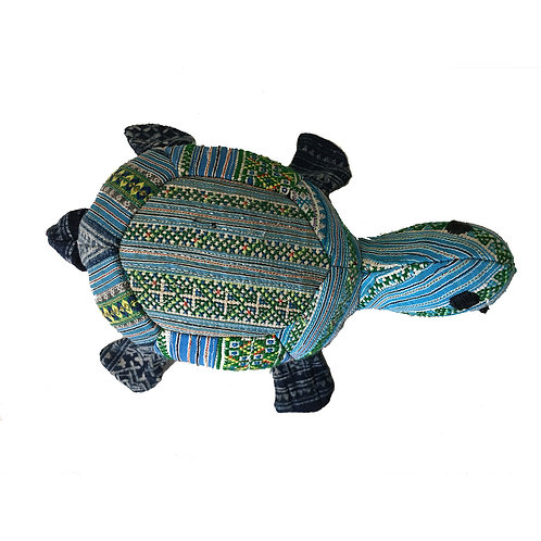 Toy Turtle with Hill Tribe Designs - Blue