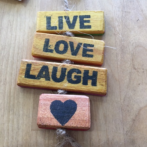 Upcycled Wooden Sign - Live, Love, Laugh