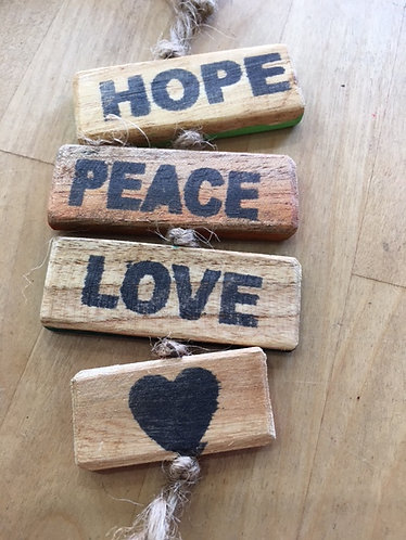 Upcycled Wooden Sign - Hope, Peace, Love