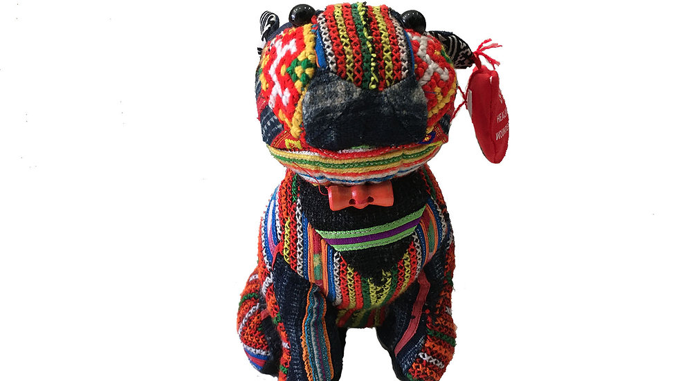 Dog with Traditional Indigo Designs