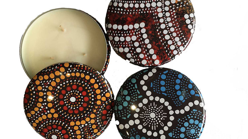 Hand Made Candle with Indigenous Art