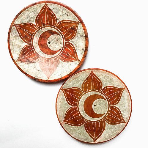 Stone Chakra Design Incense Plate - Orange