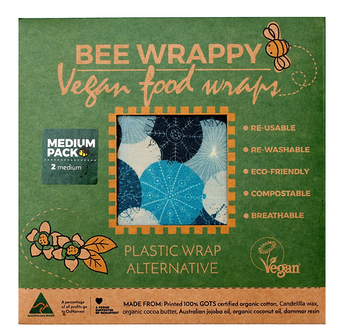 Vegan Food Wraps - 2 Medium Pack