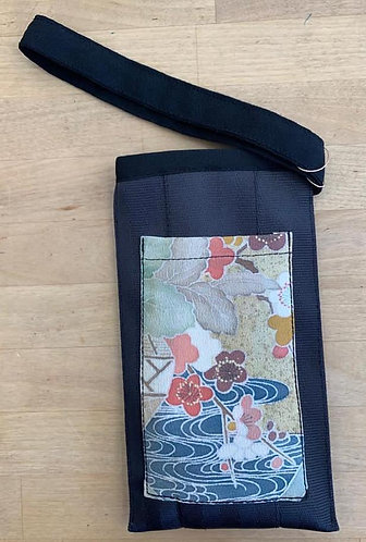 Upcycled Phone Pouch with Vintage Kimono - Black
