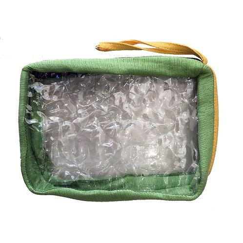 Upcycled Toiletries Bag - Green/Yellow
