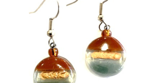 Glass Earrings Round