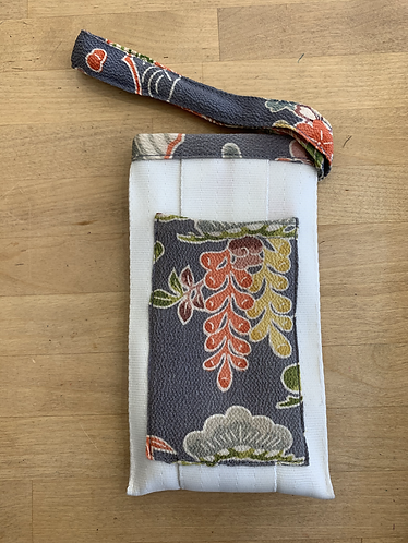 Upcycled Phone Pouch with Vintage Kimono - White/Grey Trim