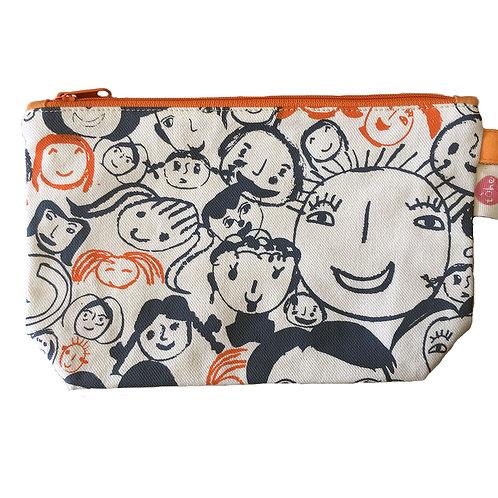 Printed Cotton Zip Bag Large (Natural)